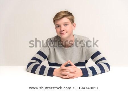 少年 座る 学校 デスク 図書 教育 ストックフォト © Leonardi