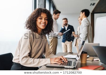 üzlet lány üzletasszony mosolyog izolált fehér Stock fotó © gorgev
