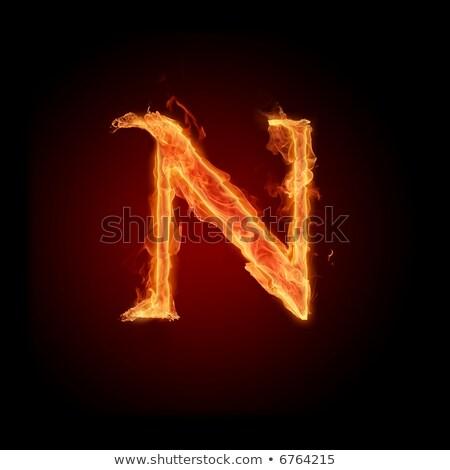 Fiery font. Letter N Stock photo © dvarg
