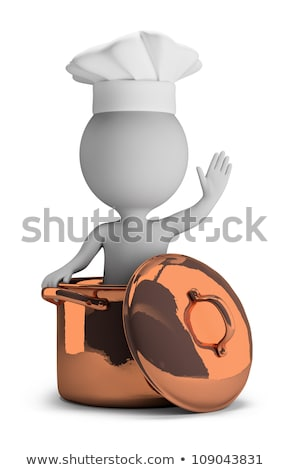 3d small people   cook in a copper pan stock photo © anatolym