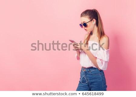 少女 青 シャツ ヘッドホン 笑みを浮かべて 十代の少女 ストックフォト © lisafx