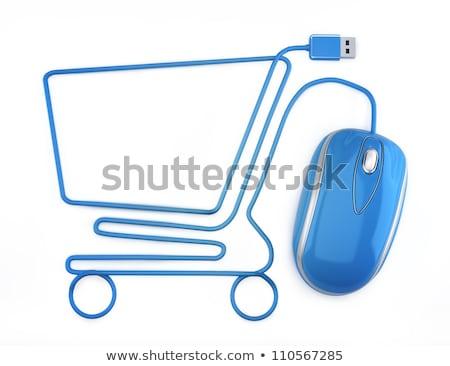 ストックフォト: ボタン · 白 · を · ショップ · 青 · 手