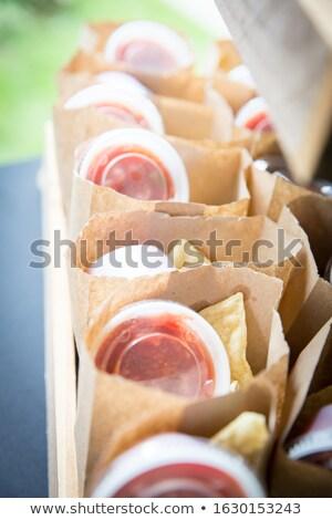 遅い 1泊 サルサ 女性 冷蔵庫 食品 ストックフォト © cboswell