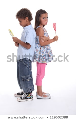 a little boy and a little girl pouting and eating ice cream Stock photo © photography33