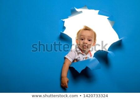 Stok fotoğraf: Meraklı · küçük · erkek · aile · yüz · vücut