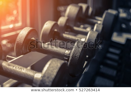 Stock photo: Weight Rack. Gym weights. Dumbbells