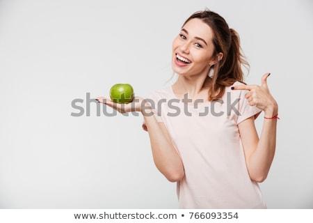 Stock foto: Lächelnd · Schönheit · halten · grünen · Apfel · isoliert