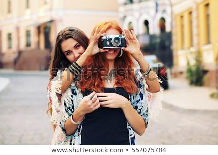due · giovani · donna · ragazza · felice · foresta - foto d'archivio © acidgrey