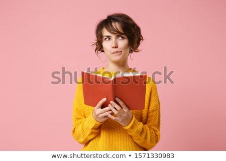 tevreden · asian · vrouw · vergadering · cafetaria · trui - stockfoto © lithian