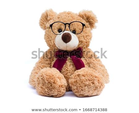 teddy bear with love glasses stock photo © marcogovel