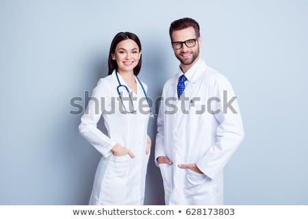 Foto stock: Jovem · bem · sucedido · feminino · médico · cartão · de · visita