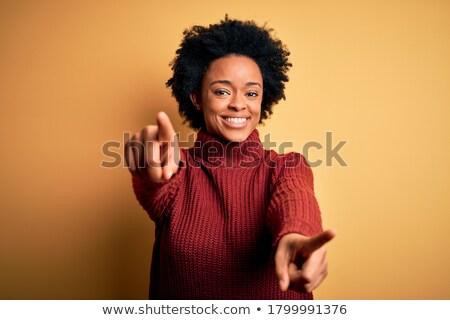 genç · kadın · parmak · yanlış · gülümseme · mavi - stok fotoğraf © rosipro