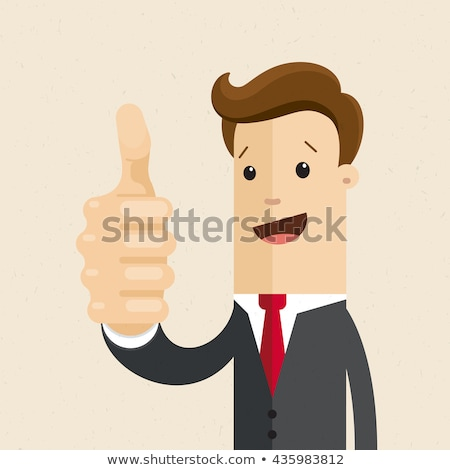 business man shows thumbs up points stock photo © feedough