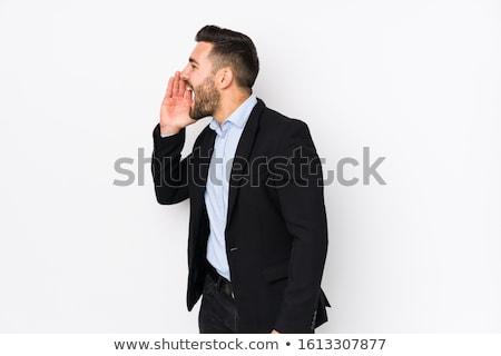 Portré üzletember kiált fehér üzlet kéz Stock fotó © wavebreak_media