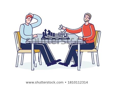 blanco · peón · negro · piezas · de · ajedrez · tablero · de · ajedrez · atención · selectiva - foto stock © gordo25