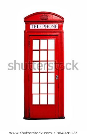 Vermelho telefone caixa suporte velho igreja Foto stock © MojoJojoFoto