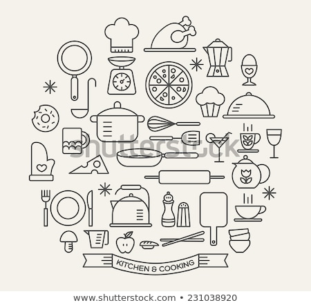 Kitchen utensil icon set Stock photo © Filata