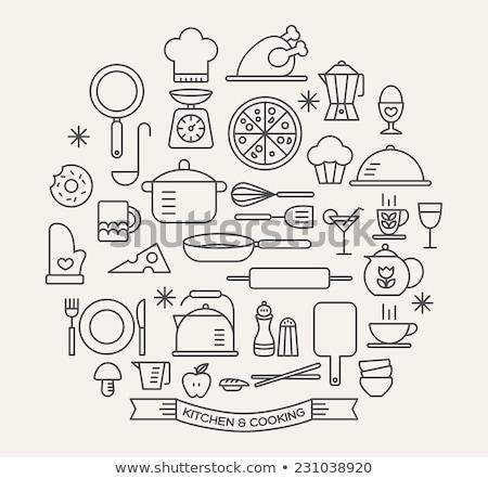 Foto stock: Kitchen Utensil Icon Set