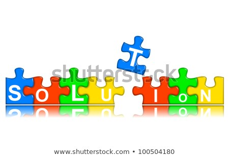Stock photo: Combined multi-color puzzle - solution concept