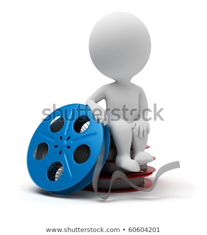 Stock photo: 3d small people - film reel