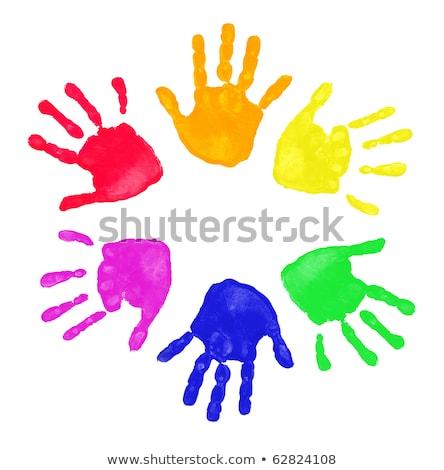 Niechlujny farby zestaw dzieci zielone Zdjęcia stock © TeamC