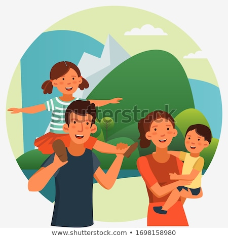 family of four sit clouds grass stock photo © paha_l