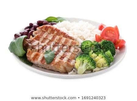 Stock fotó: Hús · rizs · zöldségek · fehér · tányér · étel