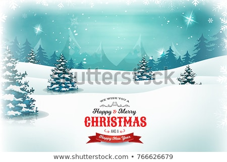 Stock photo: Grunge Winter Background With Fir Tree Snowflakes And Santa