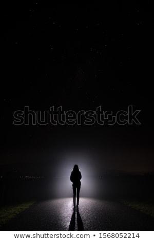 silhouette of a woman in the dark stock photo © stryjek