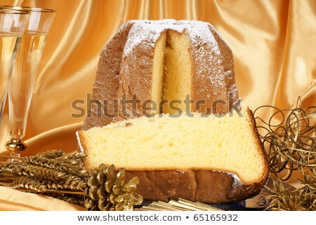 Christmas composition with Pandoro and spumante Stock photo © aladin66