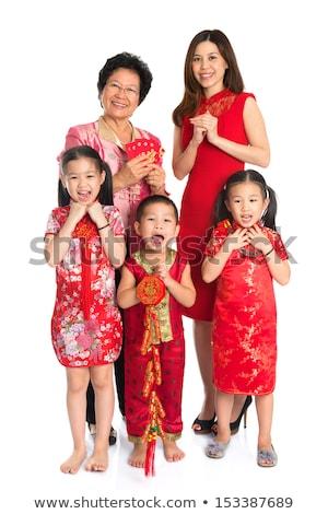 Full body Chinese cheongsam male respecting Stock photo © szefei