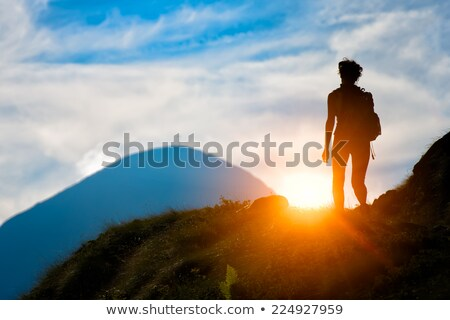 Trail signs and trekking shoes Stock photo © janhetman