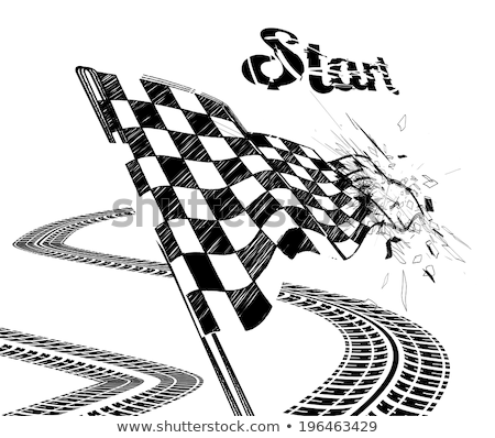 Stock photo: Drawing checkered flag in the dynamic style