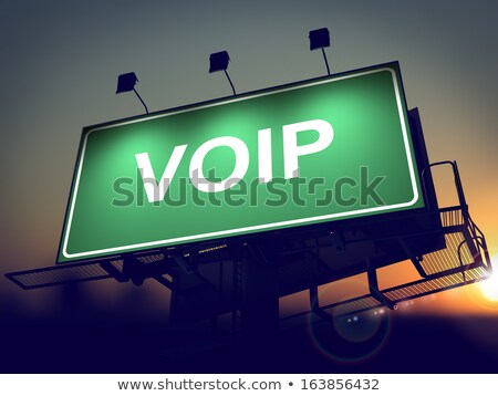 Voip Billboard sunrise vert soleil Photo stock © tashatuvango