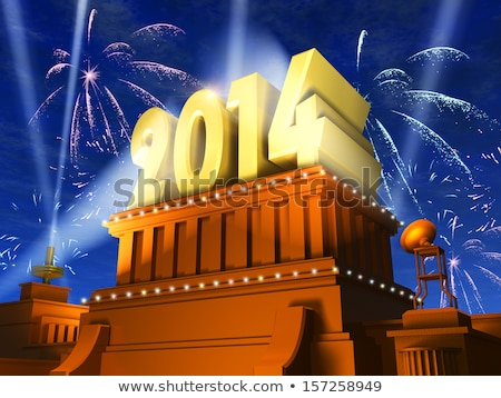 golden new year 2014 on a pedestal Stock photo © marinini