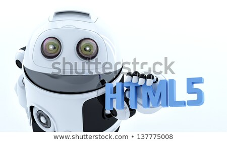 Robot android tart felirat renderelt fehér Stock fotó © Kirill_M