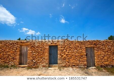 Strand metselwerk huizen deur achtergrond patroon Stockfoto © lunamarina