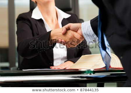 Női ügyvéd közjegyző iroda érett ügyfél Stock fotó © Kzenon