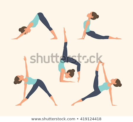 vector illustration of yoga positions in warrior pose stock photo © istanbul2009