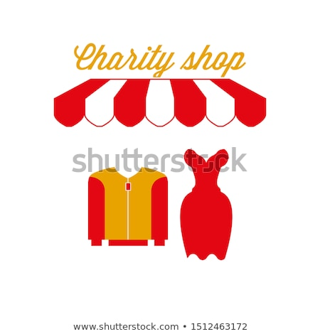 Charity on Red Striped Background in Flat Design. Stock photo © tashatuvango