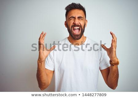 Kiabál férfi közelkép oldalnézet profil portré Stock fotó © ichiosea