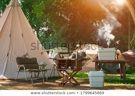 Camping with tent in forest Stock photo © LoopAll
