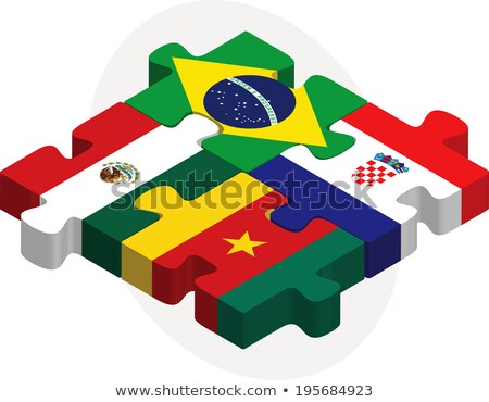 brazil croatia mexico cameroon flags in puzzle stock photo © istanbul2009