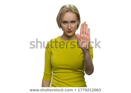 成熟した女性 停止 ジェスチャー にログイン 女性 ストックフォト © bmonteny