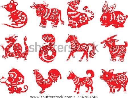 Papier geschnitten Pferd orientalisch dekorativ Schönheit Stock foto © Soleil