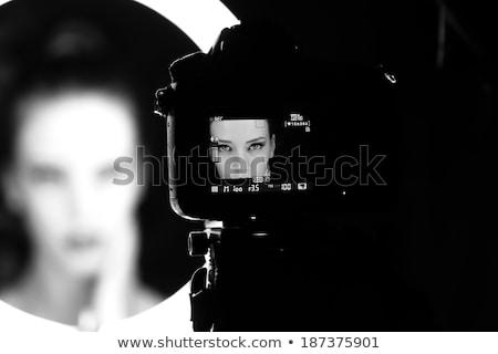 Moda studio ciemne włosy model nice makijaż Zdjęcia stock © stryjek