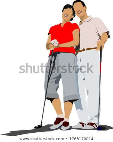 Couple golfers in iron club. Vector illustration Stock photo © leonido