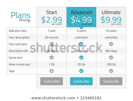 Сток-фото: современных · ценообразование · таблице · бирюзовый · вариант · интернет