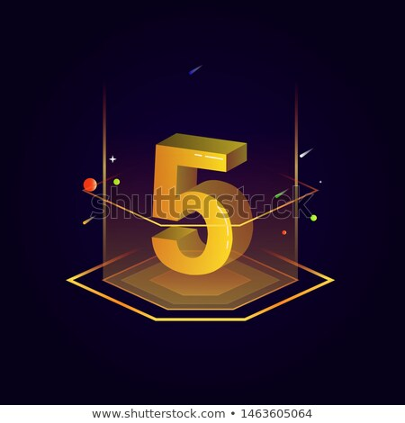 Number Five on golden platform Stock photo © creisinger