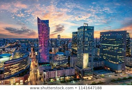 Warschau centrum zakenwijk luchtfoto bouw bomen Stockfoto © filipw